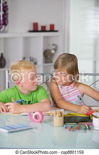 Children working on arts and crafts - csp8801159