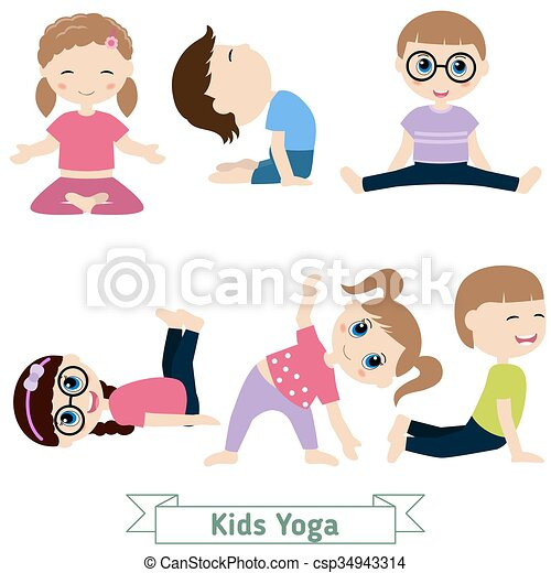 Children Yoga Doing In Different Positions
