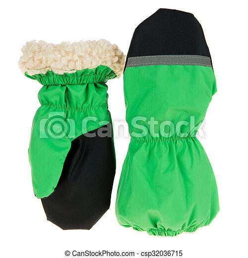 Children's autumn-winter mittens on a white background - csp32036715