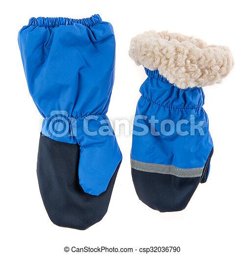 Children's autumn-winter mittens on a white background - csp32036790