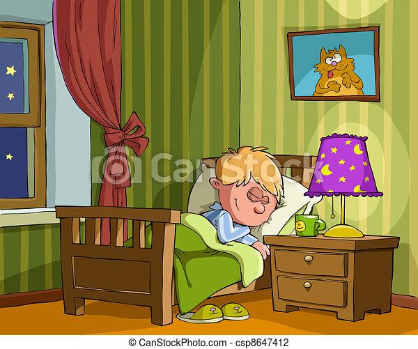 Childrens Bedroom The Boy Sleeps In Vector