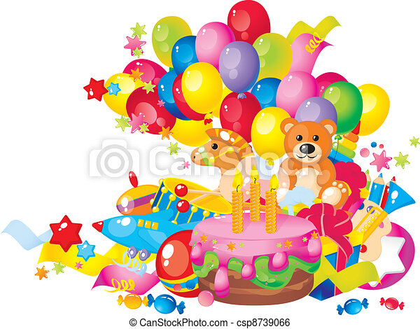 Childrens Birthday Toys Cake Balloons And Gift Boxes