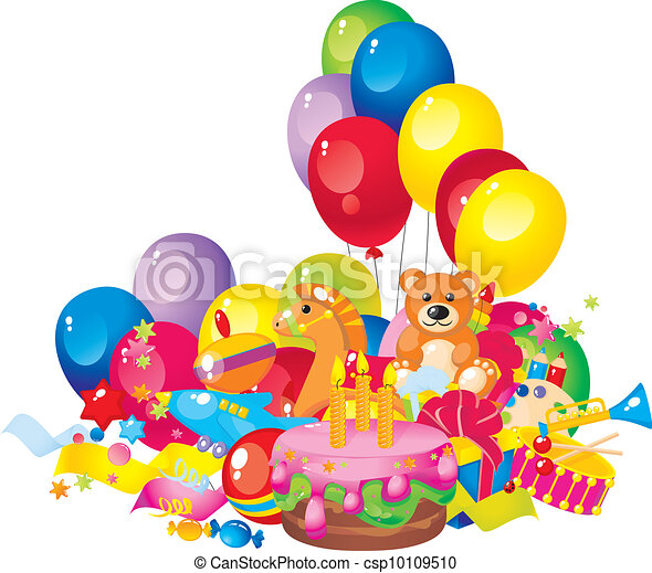 Childrens birthday toys birthday cake balloons and gift