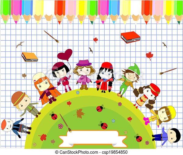 Children\'s books and colors naive style seamlessore. Children\'s ...