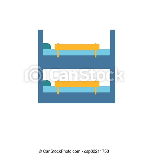 Childrens bunk bed with colorful bright safety rails. Furniture for a children s room. Isolate on a white background. - csp82211753