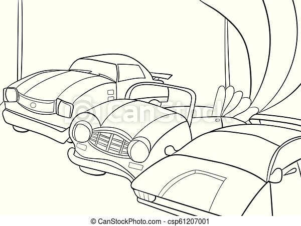 Childrens cartoon coloring book for boys. Vector illustration - garage with  cars