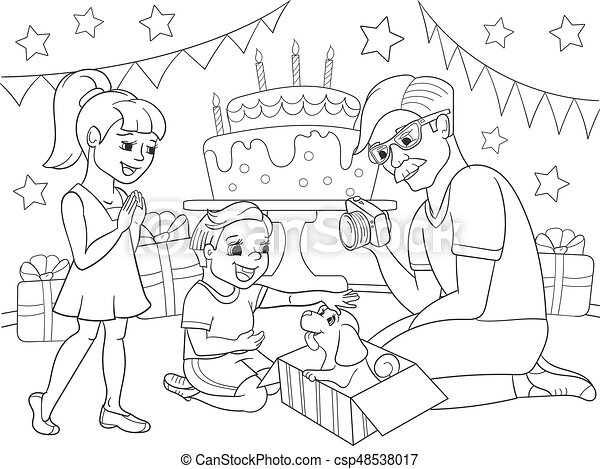 Childrens cartoon coloring of the holiday. Birthday with gifts, a memorable shot. The boy present a puppy to the boy. - csp48538017