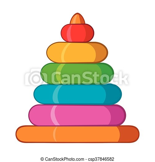 Childrens colorful pyramid icon, cartoon style - csp37846582