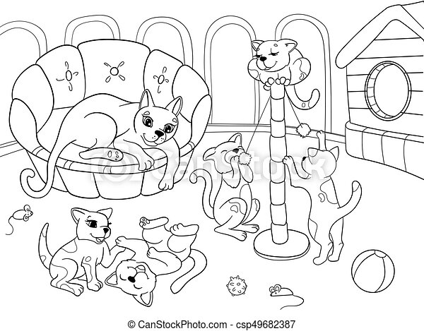 Childrens Coloring Book Cartoon Family On Nature Mom Cat And Kittens Children