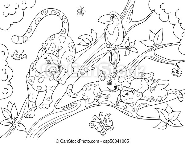 Childrens Coloring Book Cartoon Family Of Leopards On Nature