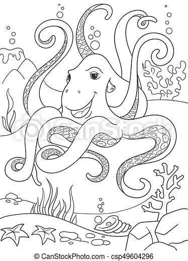 Childrens Coloring Cartoon Animal Friends In Nature Underwater