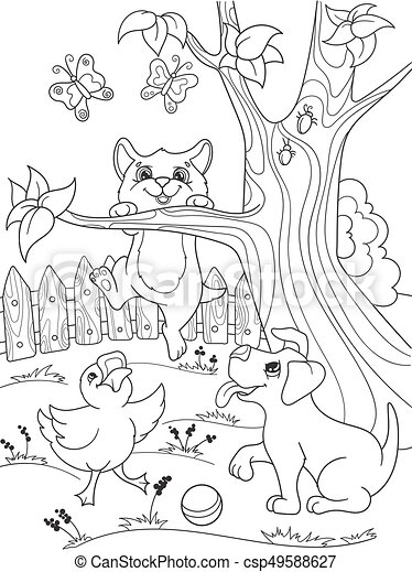 Childrens coloring cartoon animals friends in nature. Duckling, puppy and kitten. Duck, dog and cat - csp49588627