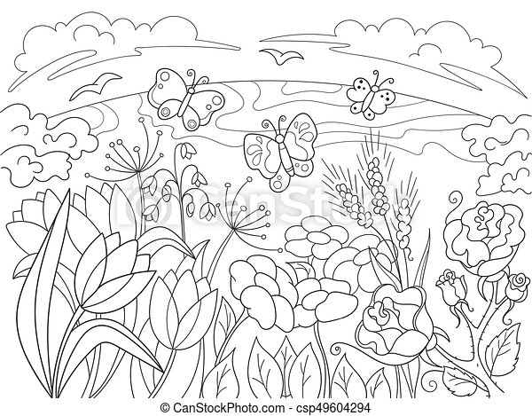 Childrens Coloring Cartoon Glade With Flowers In Nature