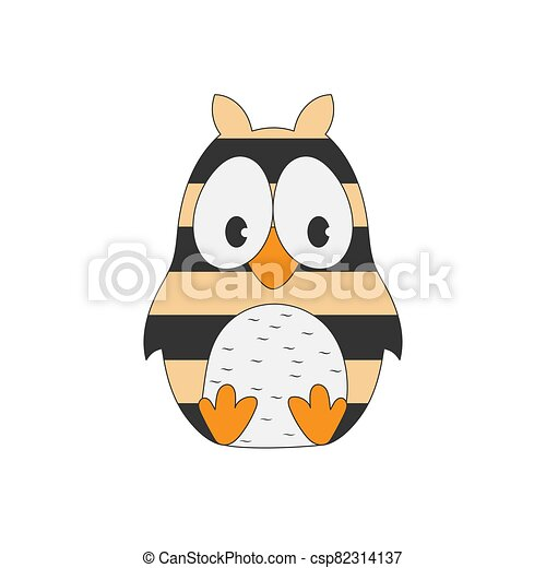 Children's drawing of a striped owl. Simple vector illustration. - csp82314137