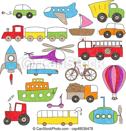 Children's drawing style toy vehicles - csp48036478