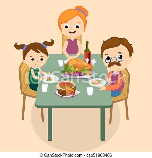 Childrens familie leute herbst holiday dank tisch - El comedor de familia ...