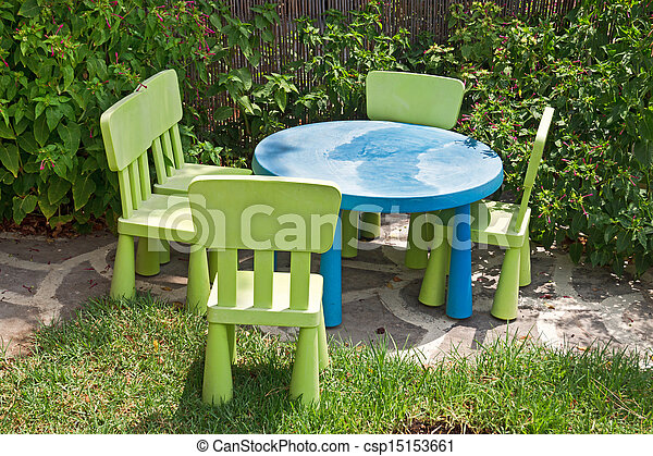 Children s Garden Furniture At Green Yard Stock Photo. Children s garden furniture at green yard stock image   Search