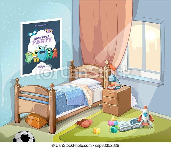 Childrens, Illustration, Dessin Animé, Vecteur, Chambre à Coucher,  Intérieur, Style