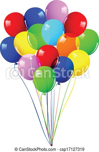 Children's party colorful balloons - csp17127319