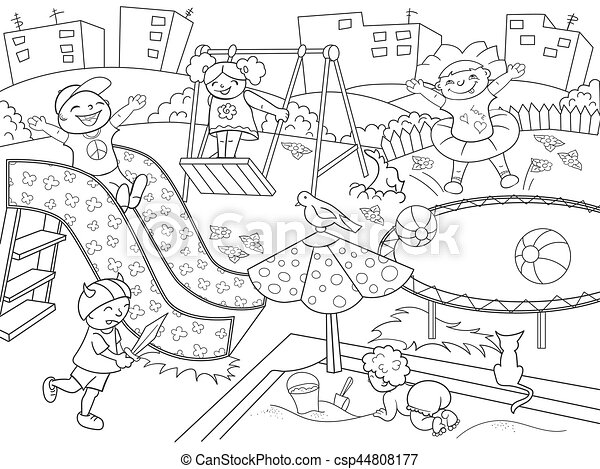 Kids Playing On Playground Clipart Black And White