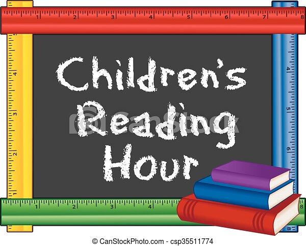 Childrens Reading Hour, Ruler Frame - csp35511774
