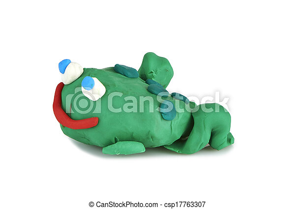 children's toy molded from clay - frog - csp17763307