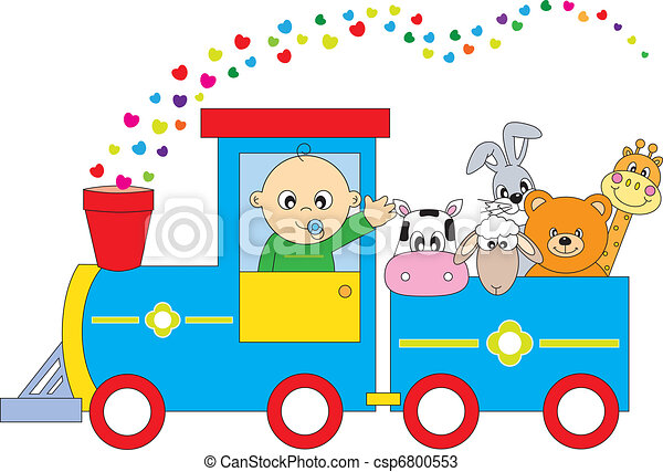 children\'s, trem, animais - csp6800553