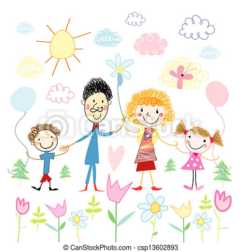 Child's drawing of happy family - csp13602893