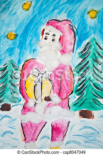 Child's drawing of Santa Claus with watercolors - csp8047049