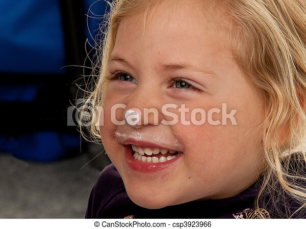 child\'s, girl., mały, head., portret - csp3923966