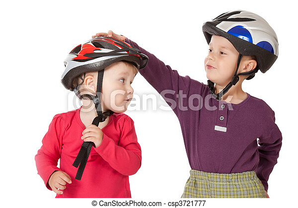 childs in bicycle helmets - csp3721777
