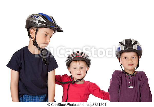 childs in bicycle helmets - csp3721801