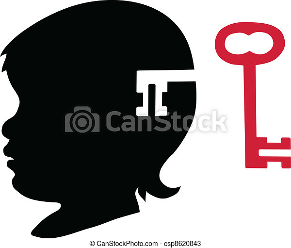 Child's silhouette with key - csp8620843
