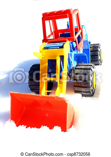 child's toy scraper in use on fresh snow - csp8732056