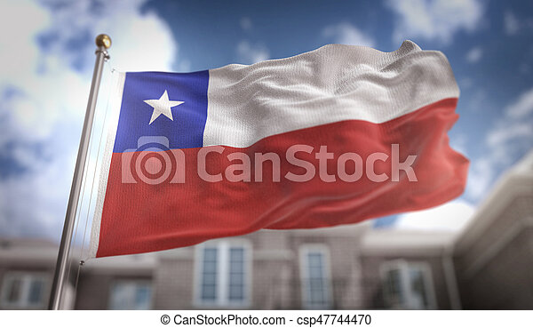 Chile Flag 3D Rendering on Blue Sky Building Background - csp47744470
