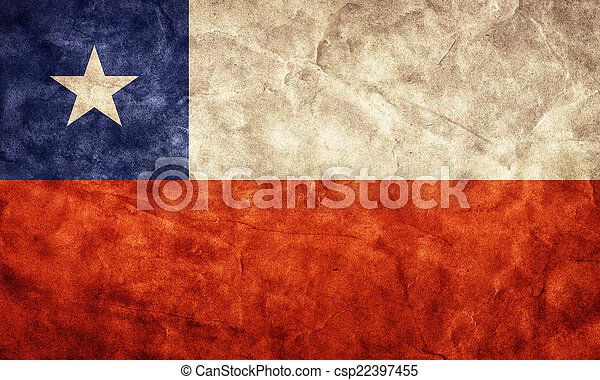 Chile grunge flag. Item from my vintage, retro flags collection - csp22397455