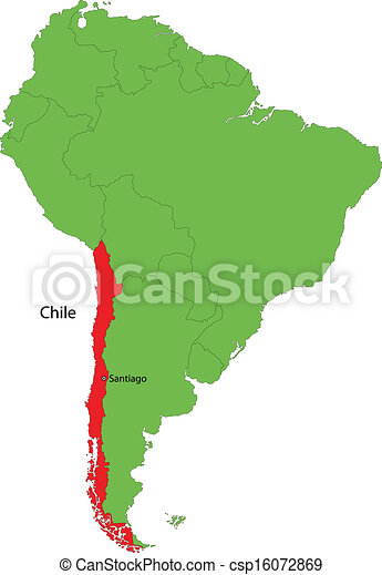 Chile map Location of chile on the south america continent clip art