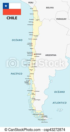 chile karta Chile map with flag. Chile vector map with flag vectors  chile karta