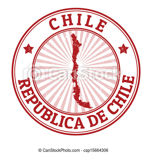 Chile Stamp Grunge Rubber With The Name And Map Of