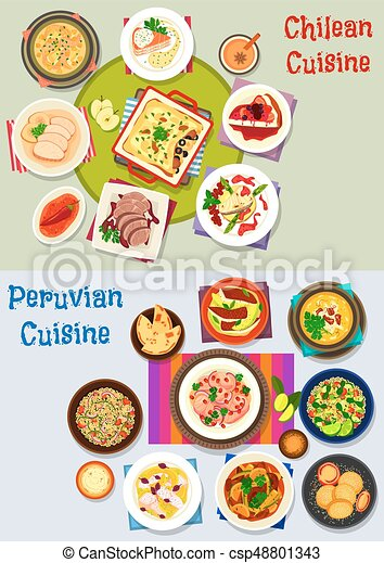 Chilean and peruvian healthy food icon set - csp48801343