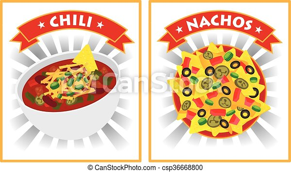 chili and nachos illustration - csp36668800