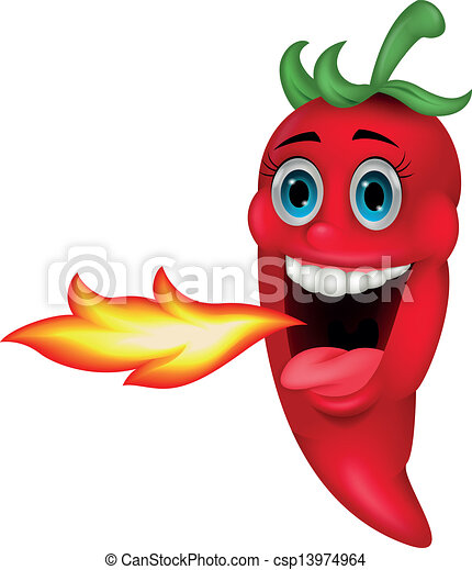 Chili Cartoon Character Breathing F - csp13974964