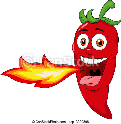 Chili Cartoon Character Breathing F - csp13390898