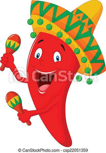 vector illustration of chili cartoon playing maracas rh canstockphoto com spanish maracas clipart maracas clipart
