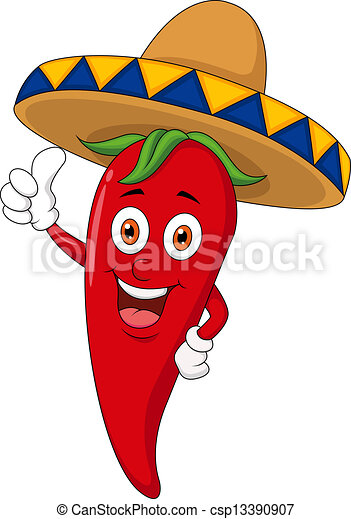 Chili cartoon with sombrero hat - csp13390907