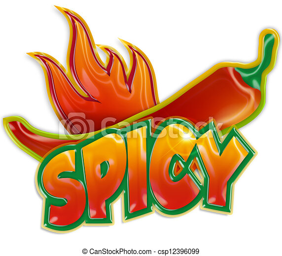 chili pepper and blaze on white background - csp12396099