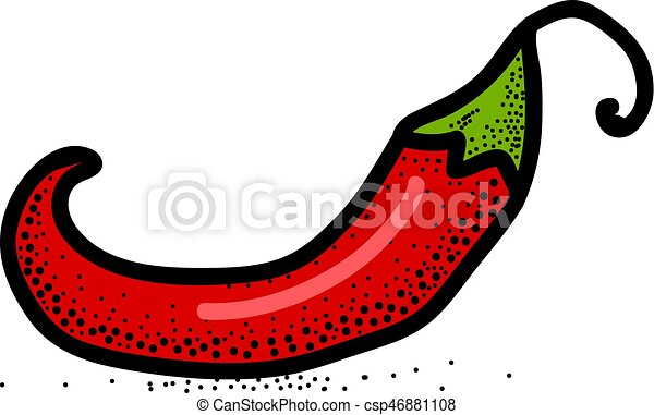 Chili Pepper hand drawn vector illustration. Vegetable artistic style object. Isolated hot spicy mexican pepper. Comic style icon. - csp46881108