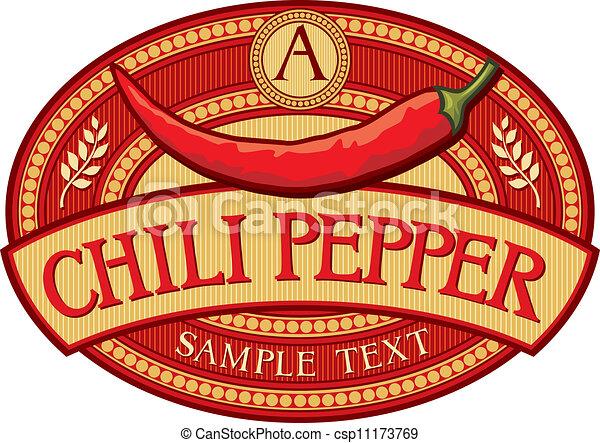 chili pepper label  - csp11173769