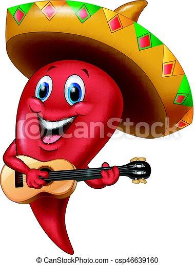 Chili pepper mariachi wearing sombrero playing a guitar - csp46639160