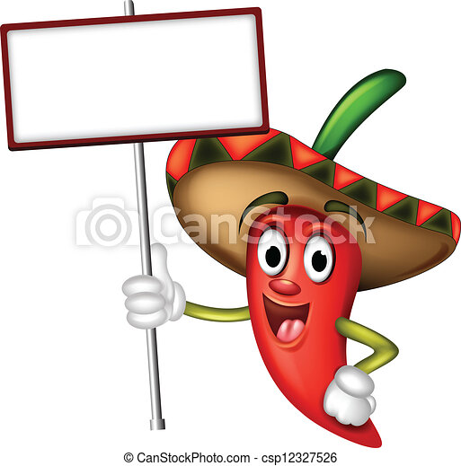 chili pepper with blank board - csp12327526